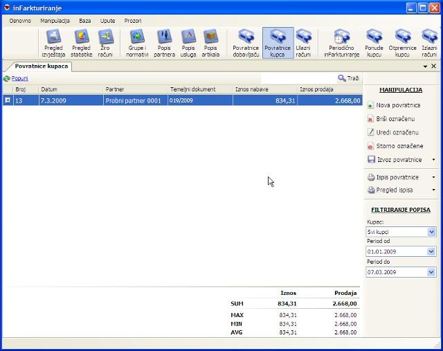Prozor sa popisom povratnica robe od kupca