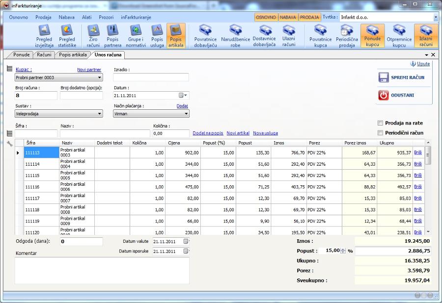 Infarkturiranje Program Za Izradu Ponuda I Računa Faktura